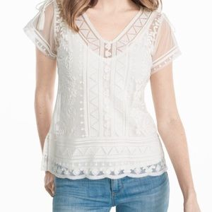 WHBM Embroidered Lace Top
